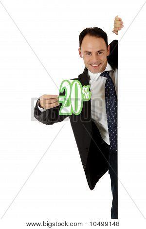 Man, Twenty Percent Discount Sign