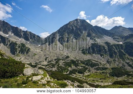 Amazing panorama of Yalovarnika peaks in Pirin Mountain