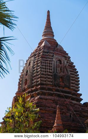 Top Of Red Brown Pagoda And Blue Sky