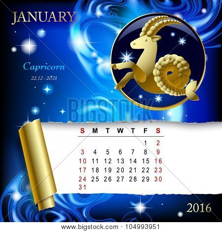 Simple monthly page of 2016 Calendar with gold zodiacal sign against the blue star space background. Design of January month page with Capricorn figure