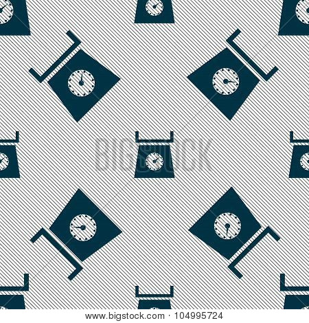 Kitchen Scales Icon Sign. Seamless Pattern With Geometric Texture. Vector