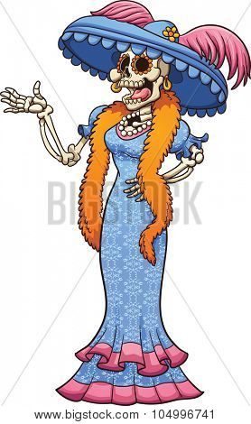 Mexican catrina laughing. Vector clip art illustration with simple gradients. Catrina and dress pattern on separate layers.