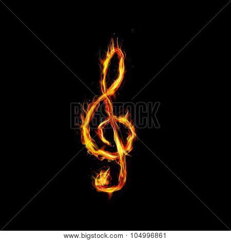 Fire burning key violin on black blackground