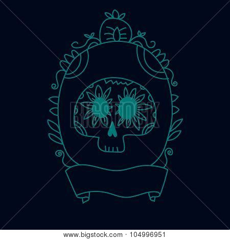 Doodle sugar skull in a frame blue, halloween or dia de muertos background, vector