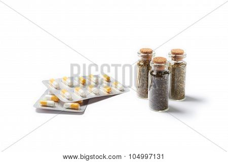 Natural Medicament With Pills Isolated On White Background