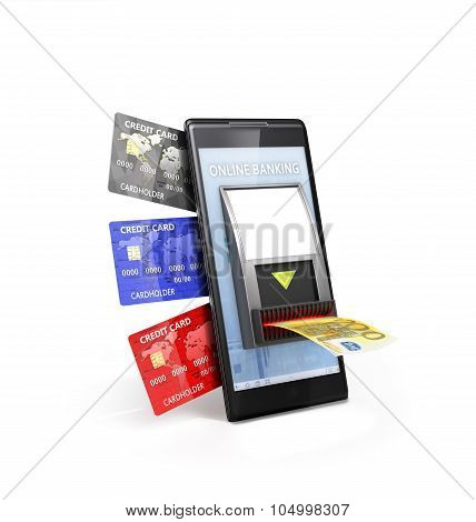 Mobile Payment Concept; Phone With Cash Validator And Credit Cards Isolated On White Backgrownd