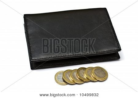 Black Wallet With Eruo Coins