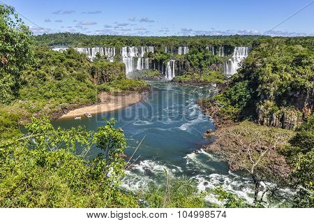 Upper View Of The At Iguazu Falls,  Brazil