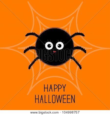 Cute Cartoon Fluffy Spider On The Web. Halloween Card. Flat Design.