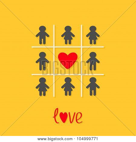 Man Woman Icon Tic Tac Toe Game. Red Heart Sign Love Yellow Background Flat Design