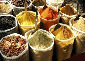image of garam masala  - a vendors display at local market in south india - JPG