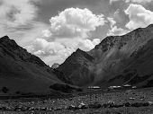 Black And White Photo Graphy Of Mountain Range poster
