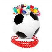 Footbal With A Polish Garland And Necklace poster
