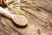 Постер, плакат: Wheat Bran In Wooden Spoon With Wheat Ears