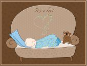 stock photo of sleeping baby  - Newborn Baby Boy Sleeping Card in vector - JPG