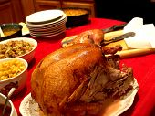 stock photo of christmas dinner  - a huge spread of foods for a holiday dinner - JPG