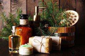 stock photo of pine-needle  - Essential oil of pine - JPG