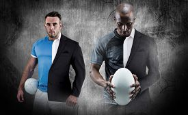 image of half-dressed  - Thoughtful athlete looking at rugby ball against half a suit - JPG