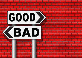 image of moral  - good bad a moral dilemma about values and principles right or wrong evil or honest ethics legal or illegal road sign arrow - JPG