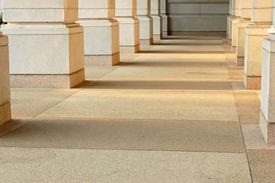 stock photo of stone floor  - stone pillars and floor at a thai museum - JPG