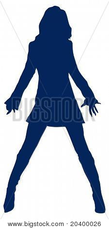 Silhouette of the girl. A vector illustration.