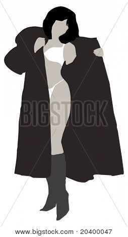 Silhouette of the girl. A color vector illustration.