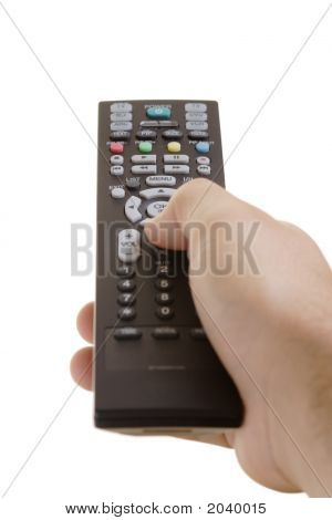 Person With A Remote Control In His Hand