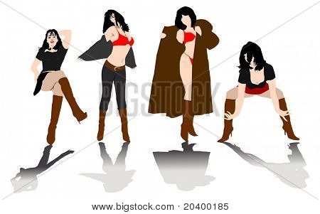 Four female silhouettes. A vector illustration.
