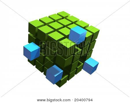 blue block coming out of many green blacks