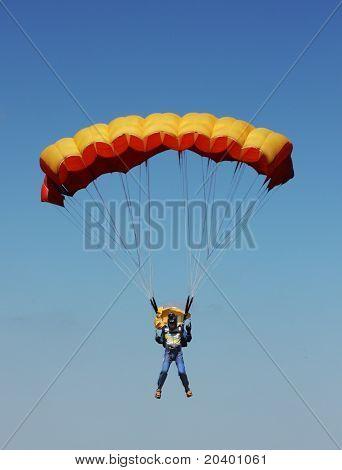 parachutist  against the blue sky