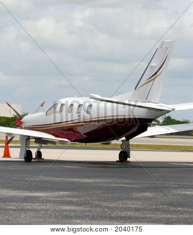 Back View Of Turboprop Airplane