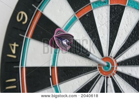 One Dart In Centre Of The Dartboard
