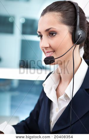 Woman Wearing Headset In Office