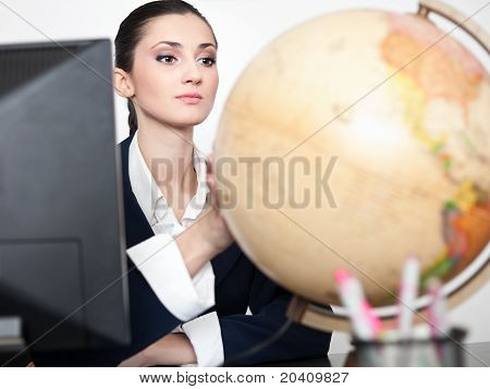 Desk Globe And Business Woman