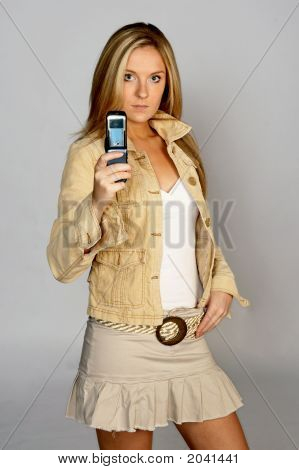 Young Blonde With Camera Phone
