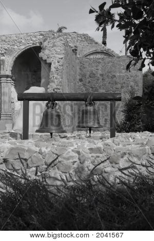 Bells At Mission San Juan Capistrano In Black And White