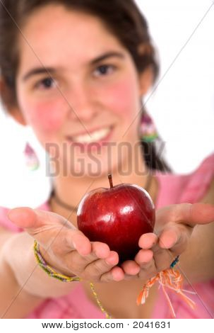 Girl Offering An Apple