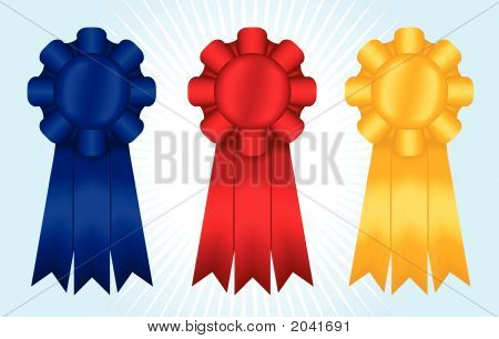 Blue, Red And Yellow Ribbons