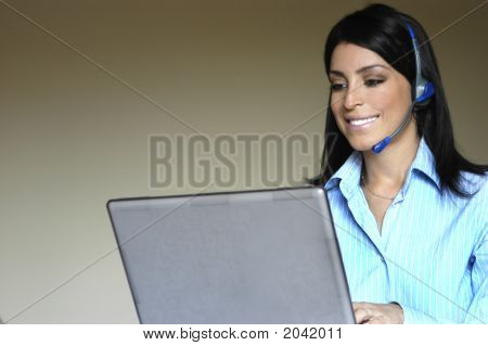Operator'S Woman At Computer