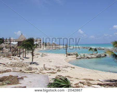Beach Devistated By Hurricane Dean