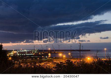 evening windmills
