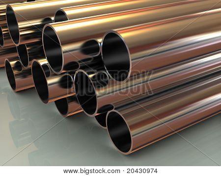 stack of steel tubing 3d
