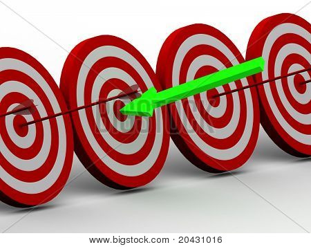 Row Red and White target with arrow