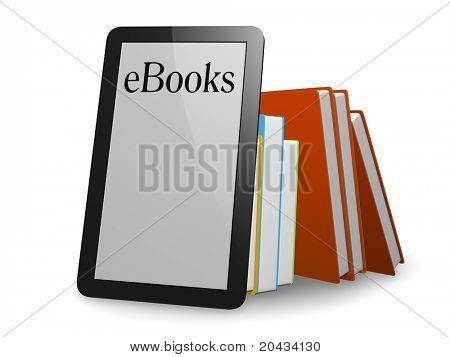 Ein schönes Ebook vor normalen Büchern