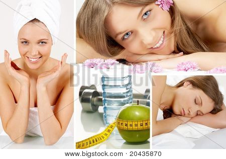 Collage of beautiful girl and objects for health and fitness