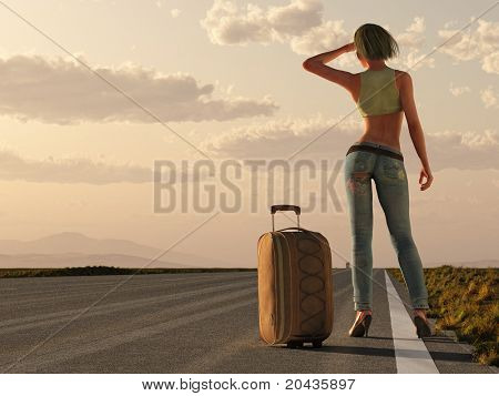 woman with bag wait on roadside