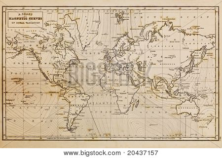 Photo of a genuine hand drawn world map, it was drawn in 1844 and therefore the countries are named as they were in the 19th century, the staining is a result of natural ageing process