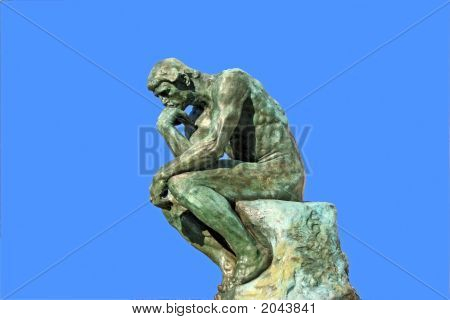 Thinker Isolated Over Blue