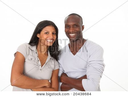 Metis couple standing on white background