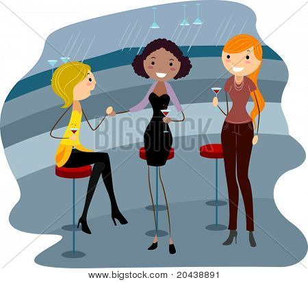 Illustration of Women Relaxing in a Bar